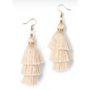 Trees Silk Tassel Earring- Creme