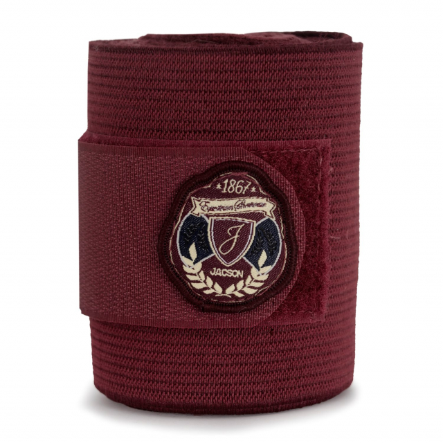 Jacson Ridebandasje fleece/strikk 4-p Vinrød