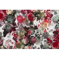 Viskoseprint med blomster rødtoner