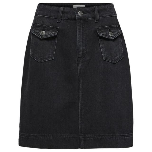 Mat Denim Skirt
