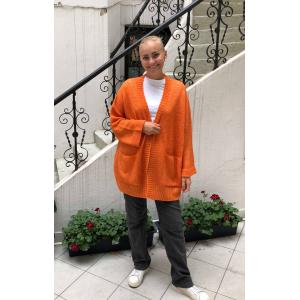 Nanna Strikkejakke Orange