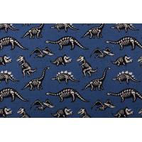 French terry ,blå med svarte dinosaurer