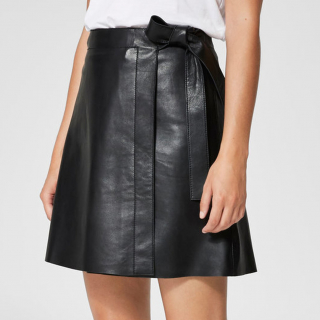 Maria Wrap Leather Skirt