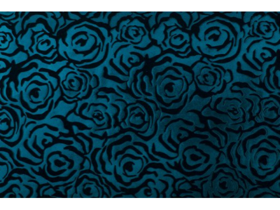 Velour med blomsterembossing blå