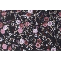 Viskoseprint med svart med gammelrosa blomster
