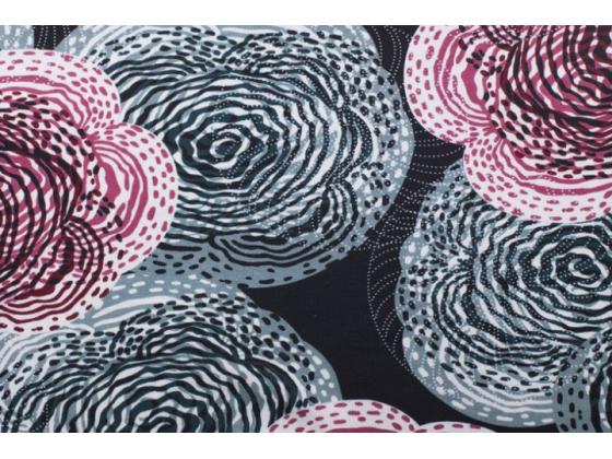 Jersey med blomster,svart bunn