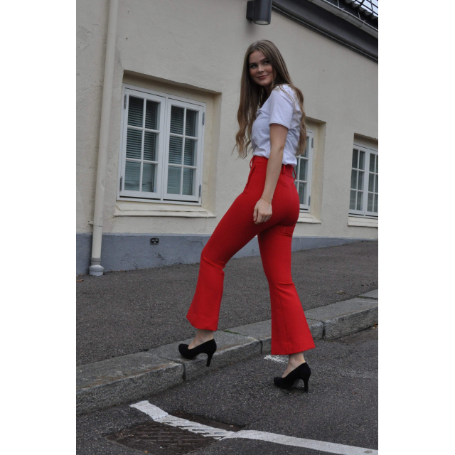 Tailored Flared Trousers - Red