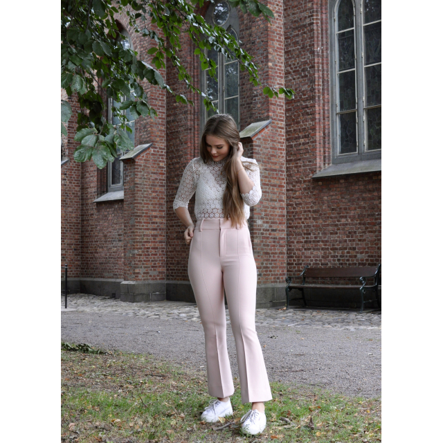 Tailored Flared Trousers - Powder