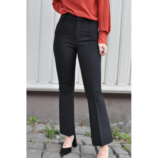 Tailored Flared Trousers - Black