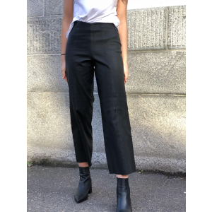 Anna cropped wide stretch leather pant