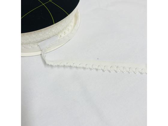 Blondestrikk hvit med blomster 14 mm