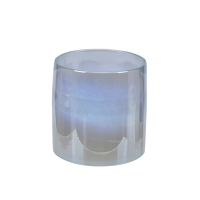 Håndlaget glasslykt 10x10cm klar/dip dyed hvit