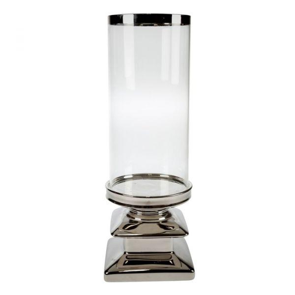 Lyslykt sølvfot 13,5x38cm
