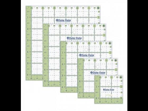 Lori Holt Cute Cuts Square Ruler Pack - 2-1/2in,3-1/2in,4-1/2in,5-1/2in,6-1/2in