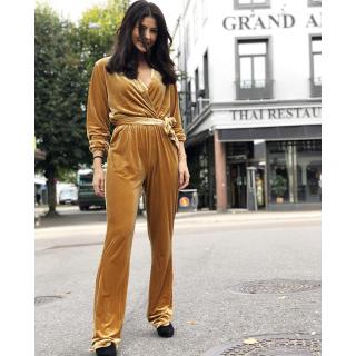 Nelia velvet jumpsuit - gold