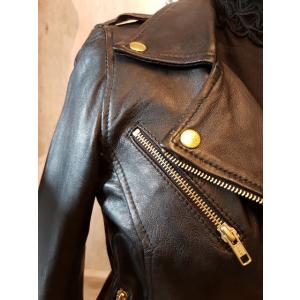 Biker Jacket m belte, m/gull glidelås og knapper