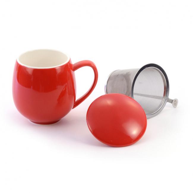 Saara rød~ tekopp med lokk og sil