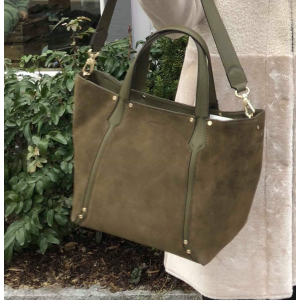 Cowhide leather/suede Shopping bag