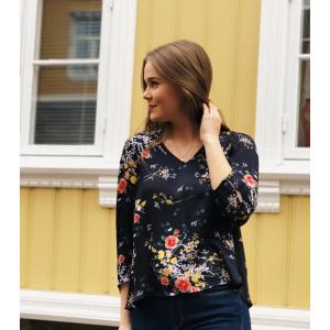Satin v-neck blouse -gardens
