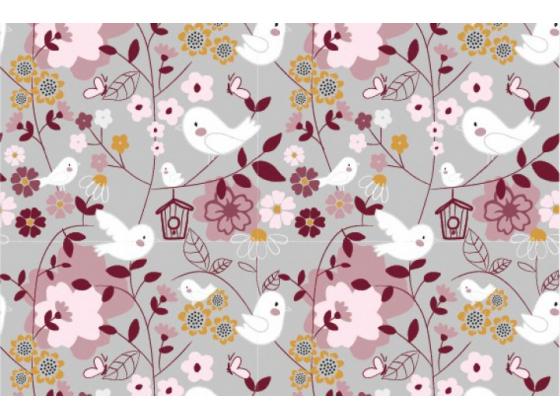Jersey med blomster og fugler grå