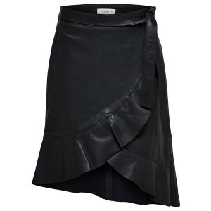Lara Ruffle Wrap Leather Skirt