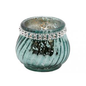 Telysglass vridd m/diamanter grønn