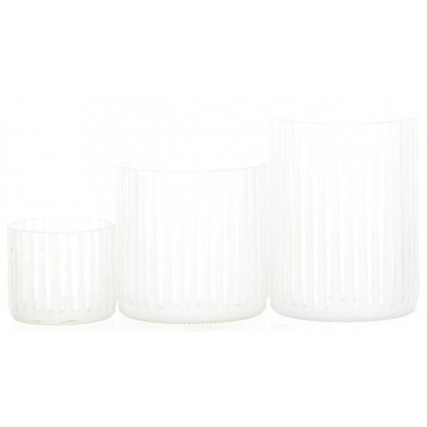 TELYSHOLDER GLASS DIA:8CM HVIT H:7CM