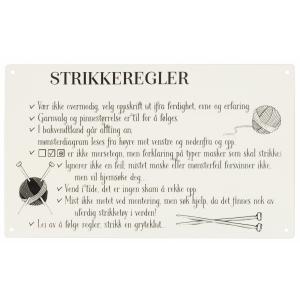 METALLSKILT, STRIKKEREGLER HVIT 27X16CM