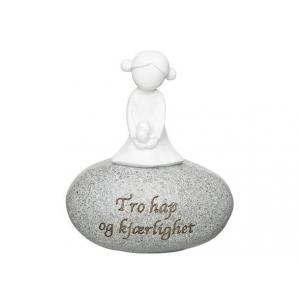 Figur på stein Tro Håp Kjærlighet